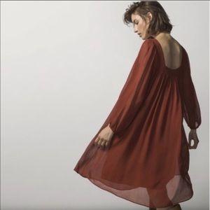 Massimo Dutti terracotta chiffon dress